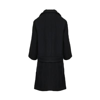 double button collar coat black